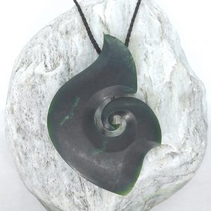 Greenstone fish-hook or matau pendant by Raegan Bregmen