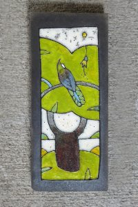 Ceramic Wall Tile with NZ native birds by Ramon A'Court from Kura Gallery