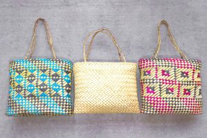 Kete or baskets woven from flax, by Riperata McMath