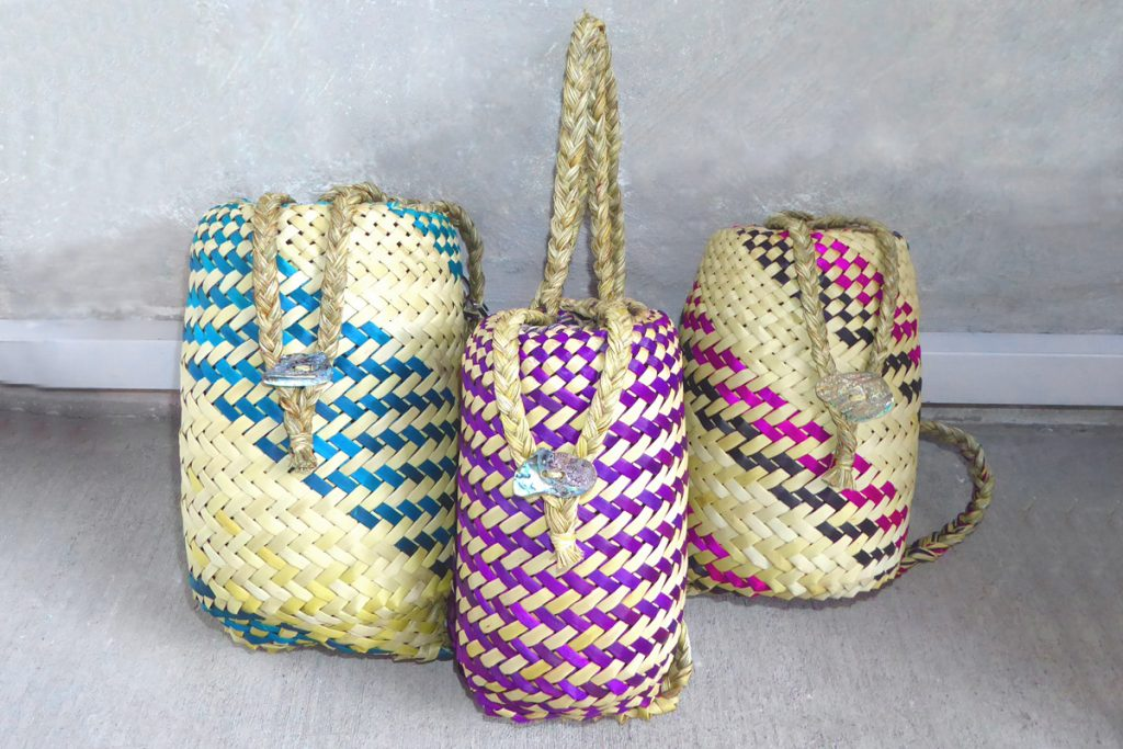 Flax woven pikau or backpacks, by Riperata McMath