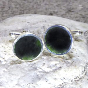 Greenstone & silver cufflinks by Scott Parker
