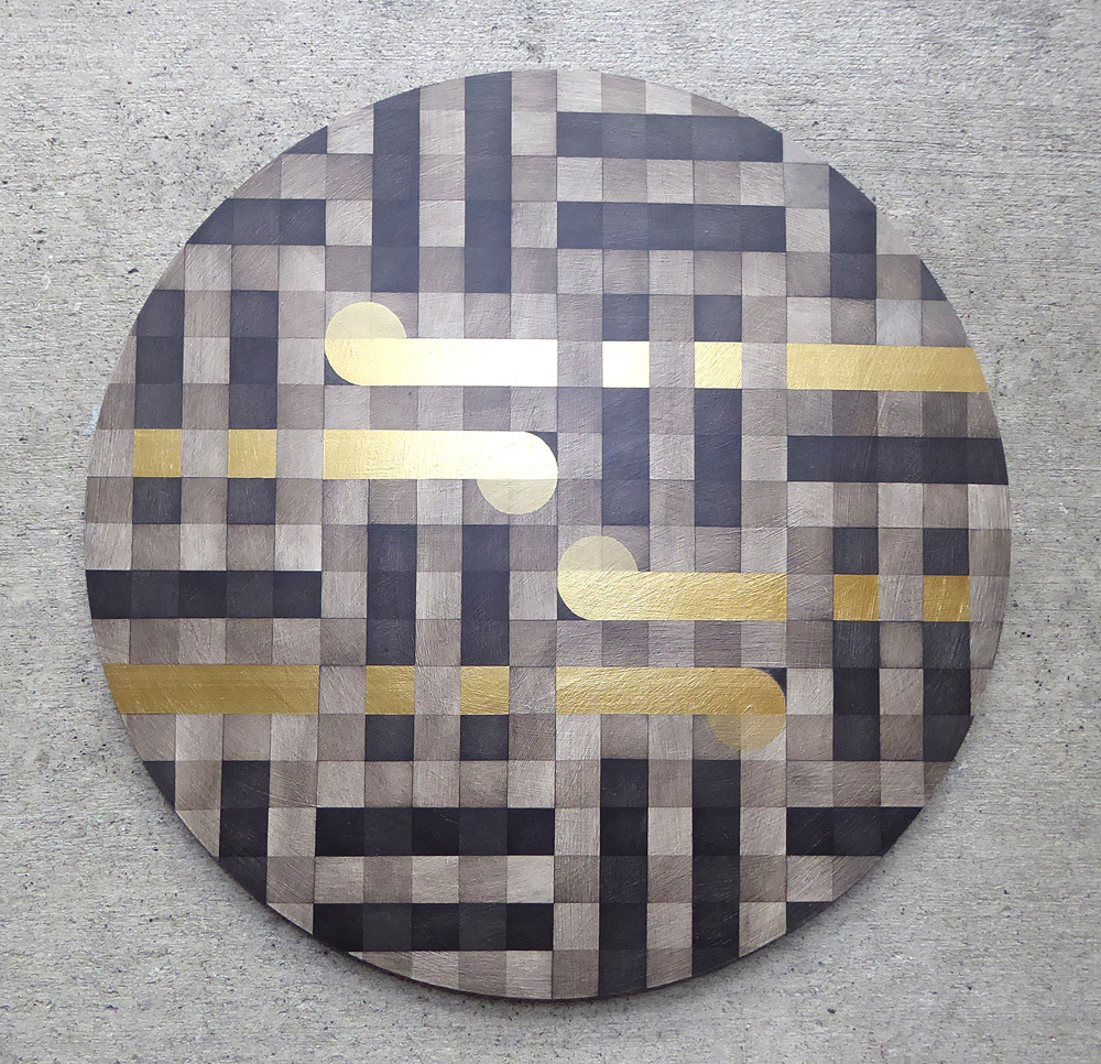 Circular painting with weave design by Sheree Willman