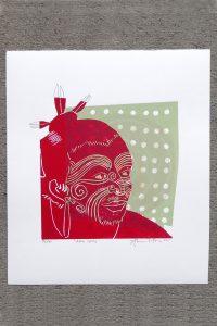Red & green print of a tattooed maori tane or man by Sheyne Tuffery