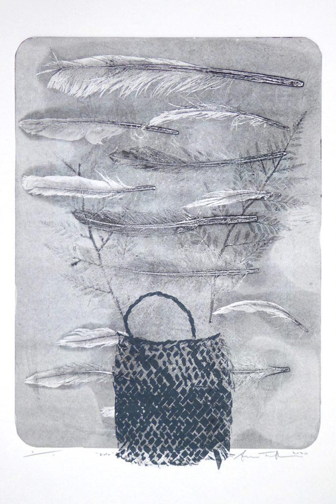 Print of a kete (basket) with feathers by Sheyne Tuffery
