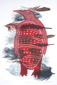 Woodblock print of a red penguin with feathers by Sheyne Tuffery