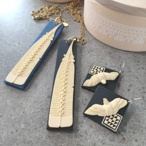 Pendants with NZ Huia feather design by Tania Tupu
