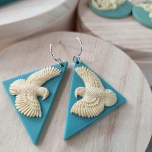 Earrings with NZ Kea bird design by Tania Tupu