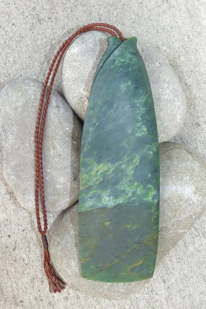 Large carved NZ greenstone piece by Tim Steel