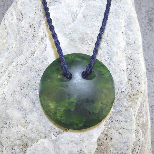 NZ greenstone kopae or disc pendant by Tim Steel