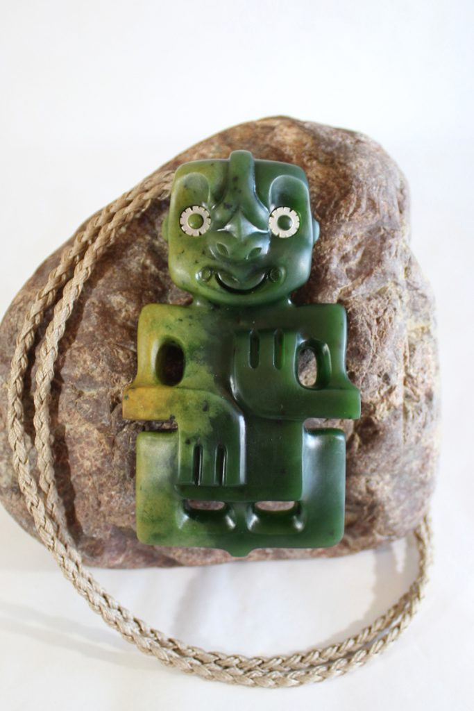 Contemporary greenstone tiki by Tim Steel
