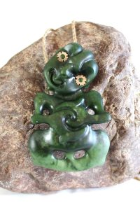 Greenstone tiki pendant by Tim Steel