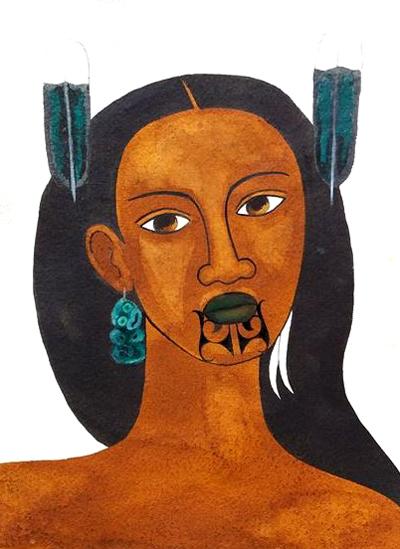 Wahine withTiki Earring