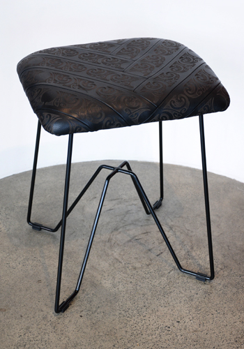 David Hakaraia Kura Gallery Maori Art Design New Zealand Aotearoa Furniture Design Etched Leather Stool Kowhaiwhai Design