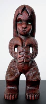 Sunnah Thompson Kura Gallery Maori Art Design New Zealand Carving Kauri Tekoteko Female