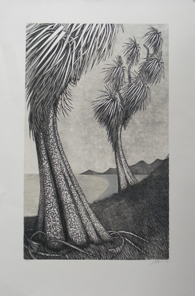 East Guardians Jono More printmaker contemporary new zealand art kura gallery