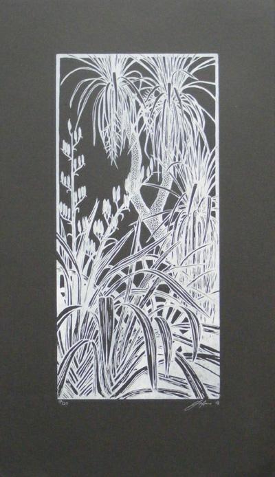 Harakeke Negative Jono More printmaker contemporary new zealand art kura gallery