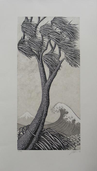 Kaze b&W Jono More printmaker contemporary new zealand art kura gallery