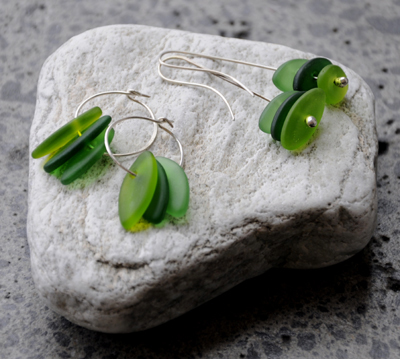 Judy Newton Kura Gallery New Zealand Maori Art Design Green Glass Earrings Jewellery