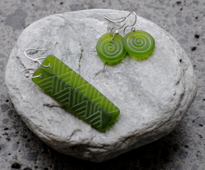 Judy Newton Kura Gallery New Zealand Maori Art Design Green Glass Earrings Jewellery 2