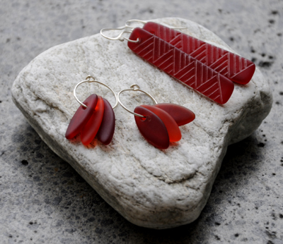 Judy Newton Kura Gallery New Zealand Maori Art Design Red Glass Earrings Jewellery