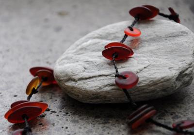 Judy Newton Kura Gallery New Zealand Maori Art Design Red Long Eyelet Necklace Jewellery  det