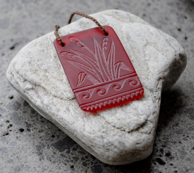 Judy Newton Kura Gallery New Zealand Maori Art Design Red Glass Harakeke Necklace Jewellery