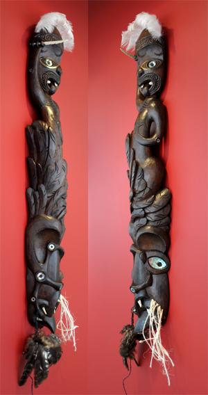 Warren McGrath Kura Gallery Maori Art Design New Zealand Aotearoa Maori Carving Te Hinganga a Kurangaituku Kahia Figurine Totara
