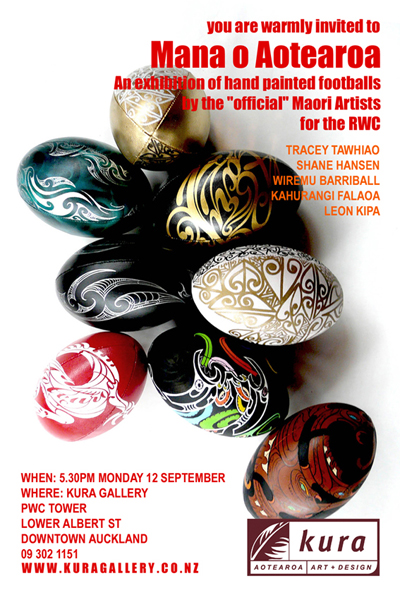 Mana o aotearoa exhibition invite september rwc kura gallery auckland new zealand