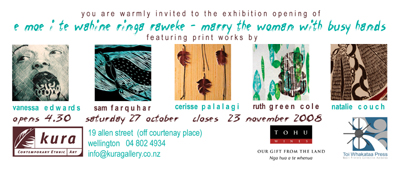 Kura Gallery Maori New Zealand Prints Sam Farquhar Vanessa Edwards Natalie Couch Ruth Green Cole Cerisse Palalagi Exhibition