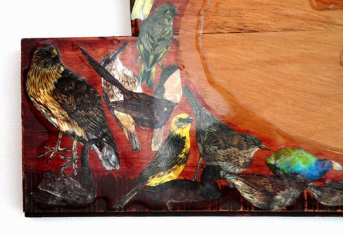 Natasha Keating Kura Gallery Maori Art Design New Zealand Aotearoa Rimu Board Collage Resin Whakarongo ki te tangi o nga manu he wero
