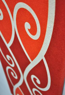 Borrowed Earth Design Kura Gallery Maori Art Design New Zealand Kowhaiwhai Te Whitinga te ra orange wall panel 4