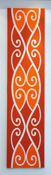 Borrowed Earth Design Kura Gallery Maori Art Design New Zealand Kowhaiwhai Te Whitinga te ra orange wall panel