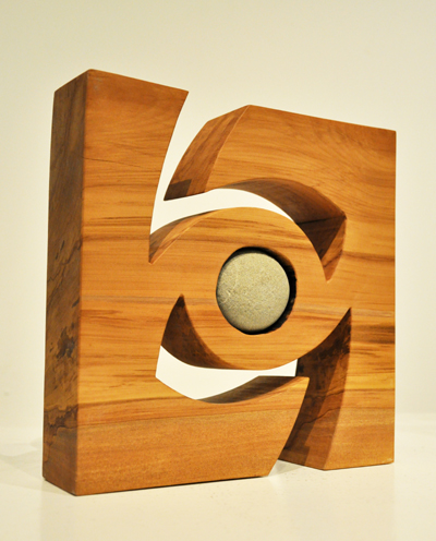 Peter Radley Kura Gallery New Zealand Art Design Wood Sculpture Rotation Heart Rimu Greywacke Argilite