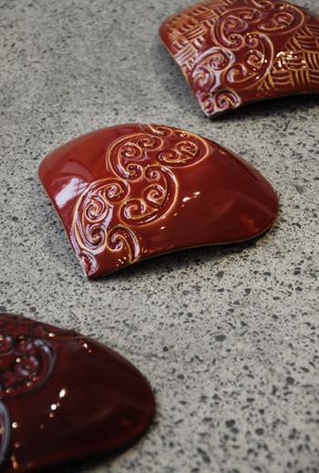 Michelle Bow Kura Gallery Maori Art Design New Zealand Aotearoa Maori Ceramic Artist Wall Heart Kowhaiwhai Design