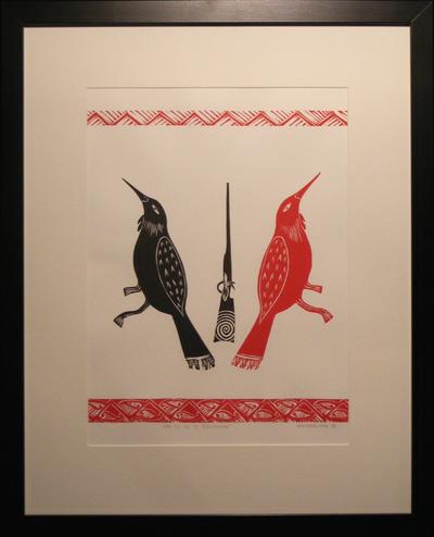 Sam Farquhar maori art nz Nga Tui Me Te Raiwhera print contemporary new zealand