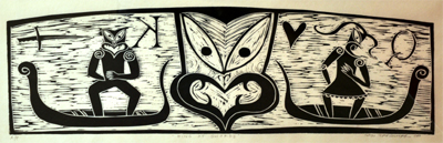 Maori Art New Zealand Printmaking Sam Farquhar Kura Gallery King of Swords