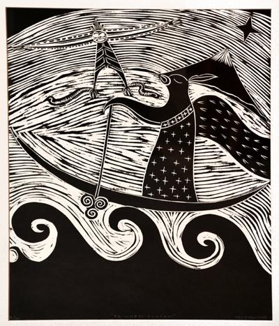 Maori Art New Zealand Printmaking Sam Farquhar Kura Gallery Te Whetu Tuatahi