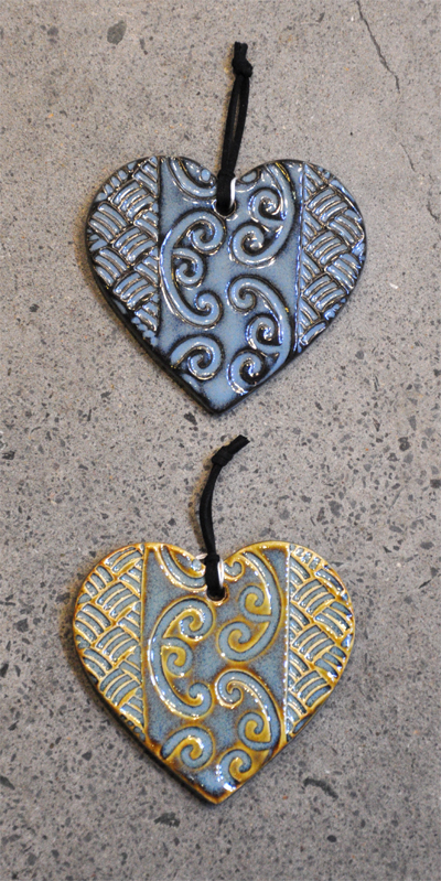 Blue ceramic hearts by Michelle Bow