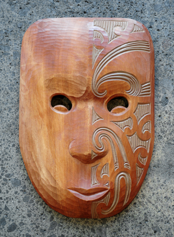 Michael Matchitt Kura Gallery Maori Art Design Aotearoa New Zealand Carving Mask Parata Kauri Wax Stain