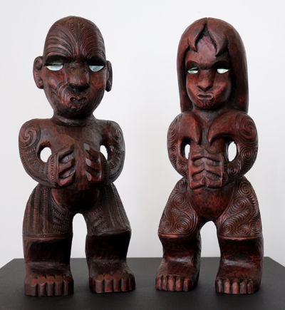 Sunnah Thompson Kura Gallery Maori Art Design New Zealand Carving Kauri Tekoteko Pair