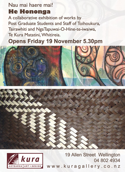 Toihoukura, Whitireia, Maori Art Exhibition Kura Gallery New Zealand